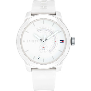 Tommy Hilfiger Men's Denim White Dial Silicone Strap Watch 1791481