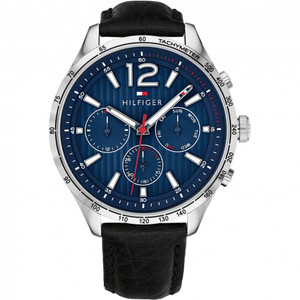 Tommy Hilfiger Men's Gavin Blue Dial Leather Strap Watch 1791468