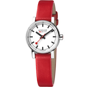 Mondaine Evo2 Petite Ladies Sapphire Small Size Red Strap Watch MSE.26110.LC