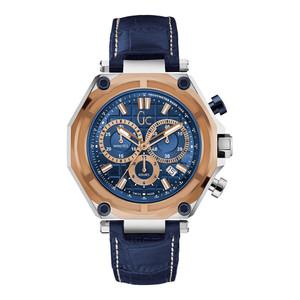 Gc Men's GC-3 Chronograph Blue Dial Leather Strap Watch X10002G7S