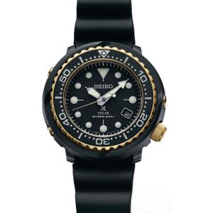 Seiko Prospex Tuna Solar Diver's Black & Gold Date Watch SNE498P1