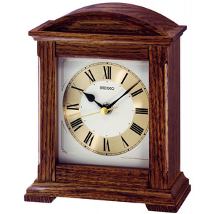 Seiko Wooden Case Quiet Sweep Second Hand Mantel Clock QXG123B