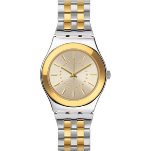 Swatch Irony Medium Golden Silver Stainless-Steel Bracelet Watch YLS207G