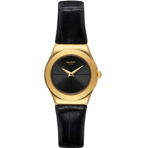 Swatch Irony Lady Nuit Blanche Black Dial Leather Strap Watch YSG156