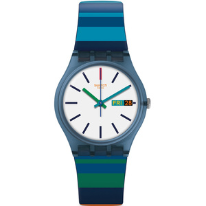 Swatch Original Gent Color Crossing White Dial Silicone Strap Watch GN724