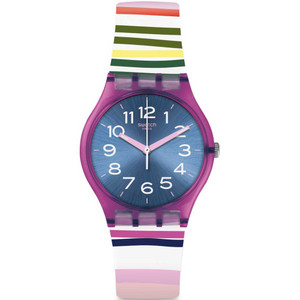Swatch Original Gent Funny Lines Blue Dial Silicone Strap Watch GP153