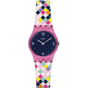 Swatch Original Lady Squarolor Navy Blue Dial Silicone Strap Watch LP153