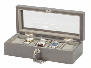 Mele & Co Soft Grey Bonded Leather Watch Box For Men Fits 5 Watches 460