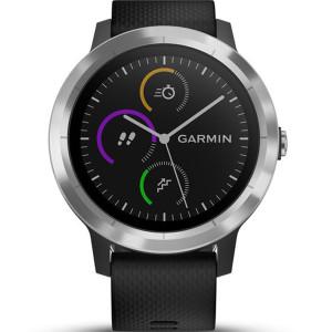 Garmin Vívoactive(3) HR Stainless Steel Black Strap 43MM Hybrid Smartwatch 010-01769-00