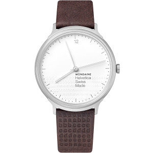 Mondaine Helvetica Special Edition Men's White Dial Brown Leather Strap Watch MH1.L2110.LG