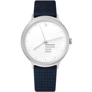 Mondaine Helvetica Special Edition Men's White Dial Blue Leather Strap Watch MH1.L2110.LD