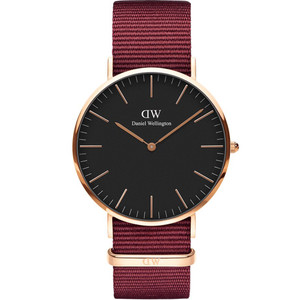 Daniel Wellington Unisex Classic Roselyn Black Dial Ruby Red Strap Watch DW00100269