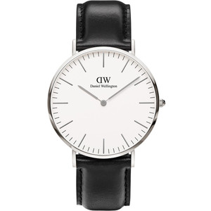 Daniel Wellington Men's Classic Sheffield Eggshell White Dial Black Leather Strap Watch DW00100020
