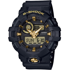 G-shock Black And Gold Analogue Digital World Time And Super Illuminator Watch GA-710B-1A9ER