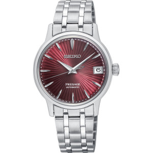 Seiko Presage Cocktail Time Ladies Automatic Red Dial Stainless-Steel Bracelet Watch SRP853J1
