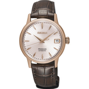Seiko Presage Cocktail Time Ladies Automatic Rose Gold Case Leather Strap Watch SRP852J1
