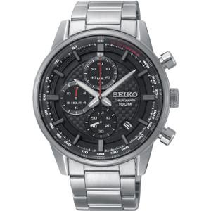 Seiko Urban Sport Men's Chronograph Date Black Dial Stainless-Steel Bracelet Watch SSB313P1