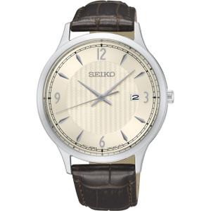 Seiko Classic Men's Cream Dial Brown Leather Strap Watch SGEH83P1