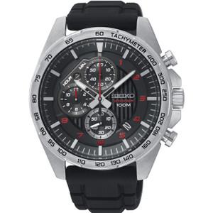 Seiko Motorsport Men's Chronograph Black Dial Silicone Strap Watch SSB325P1