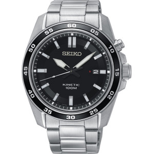 Seiko Kinetic Men's Black Dial Stainless-Steel Bracelet Watch SKA785P1
