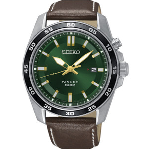 Seiko Kinetic Men's Green Dial Brown Leather Strap Watch SKA791P1