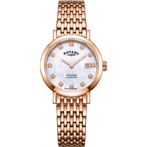 Rotary Windsor Ladies Diamond Mother-Of-Pearl Dial Rose Gold Watch LB05304/41/D