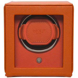 Wolf Cub Single Watch Winder With Glass Cover Orange Pebble Finish 461139