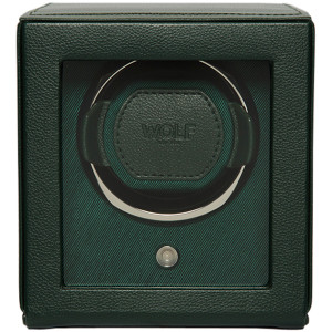 Wolf Cub Single Watch Winder With Glass Cover Green Pebble Finish 461141