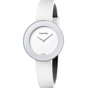 Calvin Klein Women's Chic White Dial Leather Strap Watch K7N23TK2