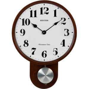 Rhythm Westminster Chime Strike Wooden Case Pendulum Wall Clock CMJ577NR06