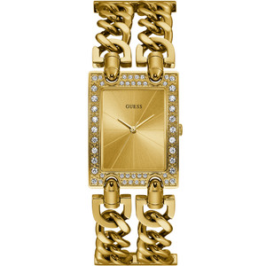 Guess Women's Heavy Metal Gold PVD Plated Bracelet Watch W1121L2