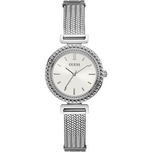 Guess Women's Monroe White Dial Stainless-Steel Mesh Bracelet Watch W1152L1
