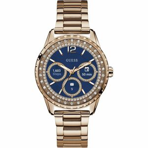 Guess Women's Connect Bluetooth Alarm Blue Dial Stainless-Steel Bracelet Smart Watch C1003L4