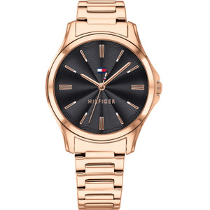 Tommy Hilfiger Women's Lori Quartz Black Dial Rose Gold Plated Stainless-Steel Bracelet Watch 1781951