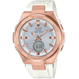 Casio G-MS Ladies Solar Powered White And Rose Gold Watch MSG-S200G-7AER