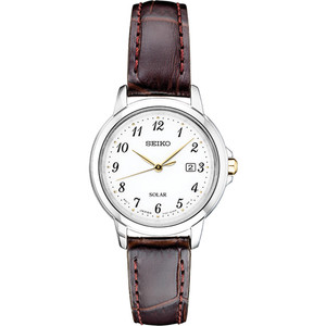 Seiko Women's Essentials Solar White Dial Brown Leather Strap Watch SUT375
