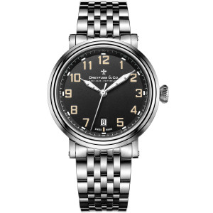 Dreyfuss & Co Men's 1924 Black Dial Stainless-Steel Bracelet Watch DGB00152/19