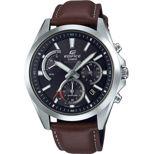 Casio Edifice Men's Solar Sapphire Chronograph Brown Leather Strap Watch EFS-S530L-5AVUEF