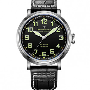 Dreyfuss & Co Men's 1924 Calibre 39 Mechanical Black Dial Leather Strap Watch DGS00164/19