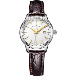 Dreyfuss & Co Women's 1890 White Dial Brown Leather Strap Watch DLS00125/02