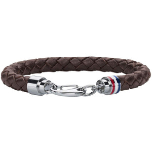 Tommy Hilfiger Men's Braided Brown Leather Stainless-Steel Bracelet 2700530