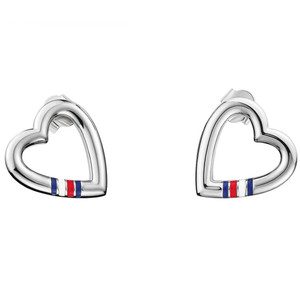 Tommy Hilfiger Classic Signature Women's Silver Heart Shaped Stud Earrings 2700909