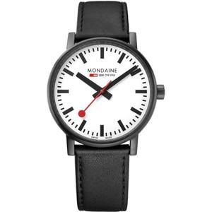 Mondaine Evo2 Men's Quartz White Dial Black Leather Strap Swiss Railways Watch MSE.40111.LB