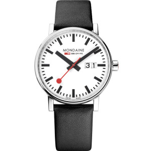 Mondaine Evo2 Men's Quartz White Dial Big Date Black Leather Strap Swiss Railways Watch MSE.40210.LB