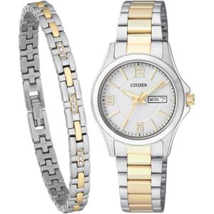 Citizen Quartz Ladies Two-Tone Watch With Free Bracelet EQ0594-58A-SET