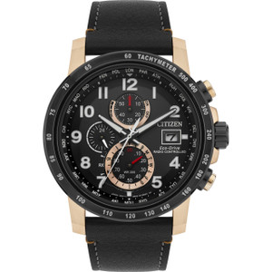 Citizen Eco-Drive Men's Radio Controlled Chronograph Black Leather Strap Watch AT8126-02E