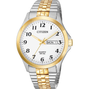 Citizen Quartz Men's White Dial Two-Tone Bracelet Watch BF5004-93A