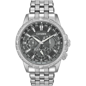 Citizen Eco-Drive Men's Calendrier 32 Diamonds Grey Dial Watch BU2080-51H