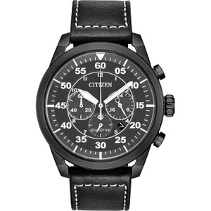 Citizen Eco-Drive Men's Chronograph Black Dial Leather Strap Watch CA4215-21H