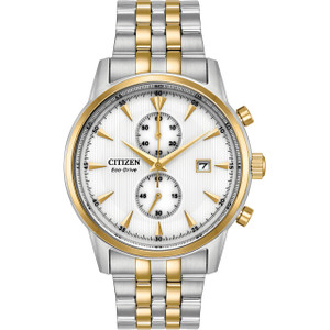 Citizen Eco-Drive Men's Corso Chronograph White Dial Two-Tone Bracelet Watch CA7004-54A